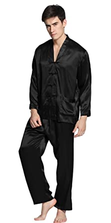 ff496f0fc5 LilySilk Men Silk Pajamas Set exotic buttoned front 22 Momme 100% Mulberry  Silk (S