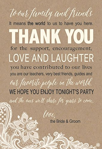 50 Wedding Kraft Thank You Place Cards, Rehearsal Dinner Thank You Table Sign, Menu Place Setting Card Notes, Placement Thank You Note Favors For Family & Guests