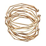 YISSION 4 Pack Fashion Simple Bracelet Bangle Three-Dimensional Irregular Bracelet Stretch Bracelets Open Cuffs for Women Girl (Gold)