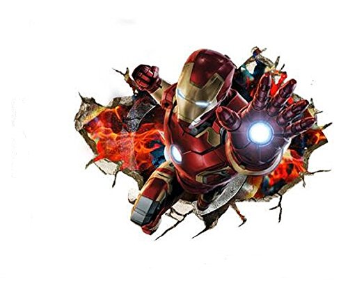 Marvel's Iron Man Peel and Stick, Removable Decal Iron Man 3D Wall Art Stickers For Home Decoration and Kids Bedroom