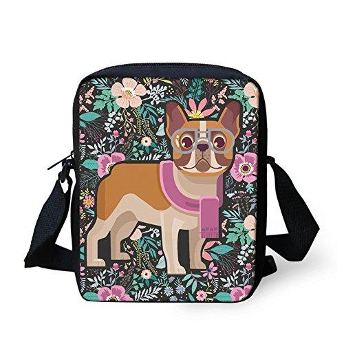 Fancy petit Floral femme bandoulière Bulldog pour Sac HUGS Y IDEA Bulldog H8574E 6wqnxBg0