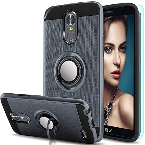 LG Stylo 3 Case,LG Stylo 3 Plus, Stylus 3 Case with HD Screen Protector,Anoke Cellphone 360 Degree Rotating Ring Holder Kickstand Scratch Resistant Drop Protective Cover for LG LS777 ZS ()