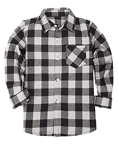 Kids Long Sleeves Button Down Flannel Cotton Plaid Shirt Tops Big Boys, White Black, 13-14 Years = Tag 180 -