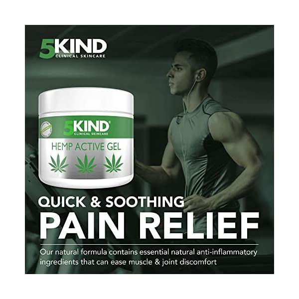 Hemp Joint & Muscle Active Relief Gel- High Strength Hemp Oil Formula Rich in Natural Extracts by 5kind. Soothe Feet, Knees, Back, Shoulders (300ml)