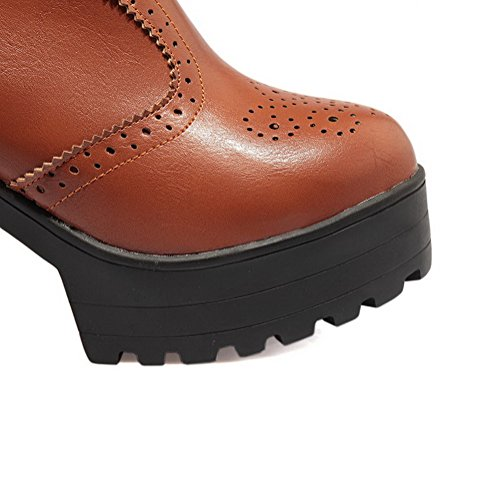 Boots Round Solid Brown Closed top Women's Toe Heels High Allhqfashion Low on Pull qYwOBnapPx