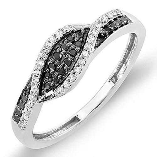 (Dazzlingrock Collection 0.22 Carat (ctw) 18K Black & White Diamond Cocktail Right Hand Ring 1/4 CT, White Gold, Size)