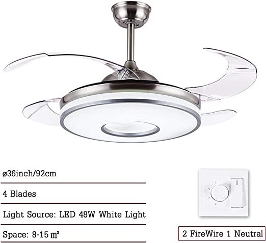 CDDQ 92cm Ventilador de Techo con lámpara,Ultrasilencioso,con 4 ...