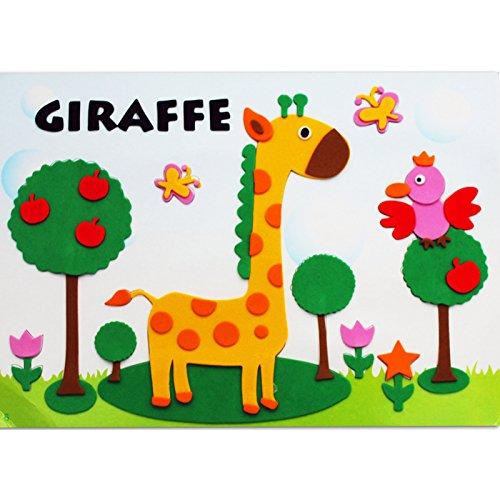 孩派eva貼畫兒童手工制作 兒童益智玩具diy幼兒園手工 動物貼紙 (6號