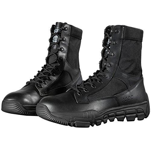FREE SOLDIER Scarpe da Trekking da Uomo in Pelle Scamosciata, Tattiche e Traspiranti Stivali Nero