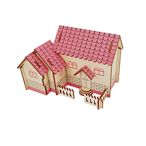 Dlong Laser Cut DIY Assembly Construction Jigsaw Puzzle 3D Wooden Model Toy Kit Set Courtyyard House Handmade Educational Woodcraft Kit for Kids Boys and Adults]()