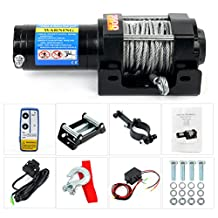 YaeTact 3500lbs Remote Electric Steel Cable Winch Kit 12V ATV Tow Boat Jeep Truck Trailer