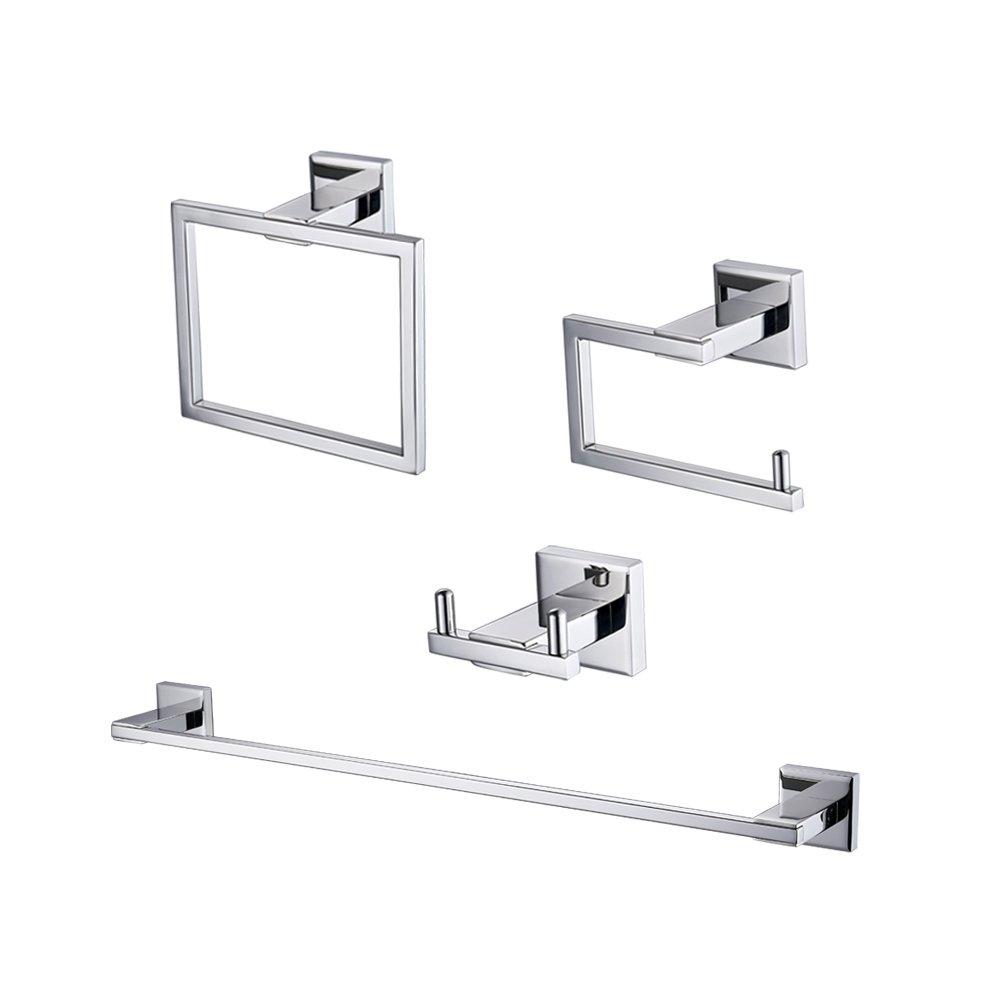 Kes 4-Piece Bathroom Accessory Set RUSTPROOF Wall Mount Polished SUS 304 Stainless Steel, LA240-42