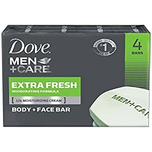 Dove Men+Care Body and Face Bar, Extra Fresh 4 oz, 4 Bar (Pack of 2)