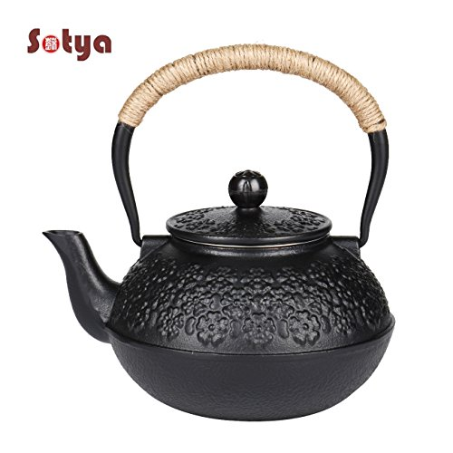 Sotya Japanese tetsubin Cast Iron Teapot Cherry Blossoms Kettle Stainless Steel Infuser 1.2L/40oz Black