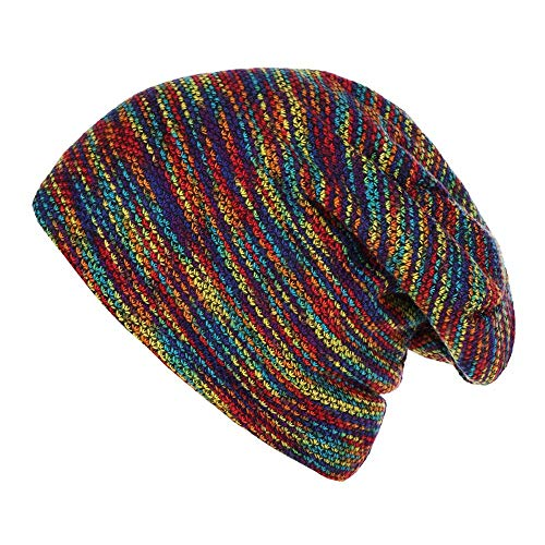 HGWXX7 Unisex Women Mens Warm Striped Knitted Outdoors Casual Hat Ruffle Wrap Cap(One Size,Multicolor)