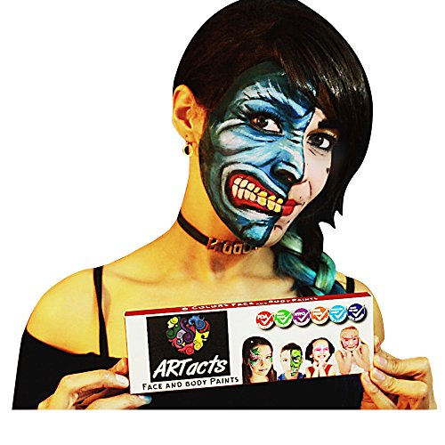 (ARTacts Face Paint Kit For Kids- 6 Color Paints- 2 Brushes And Stencils Comes In A Pallet For Easy Mixing Nontoxic And Waterbased Sutiable For Childrens Senstive And Hypoallergenic Skins)