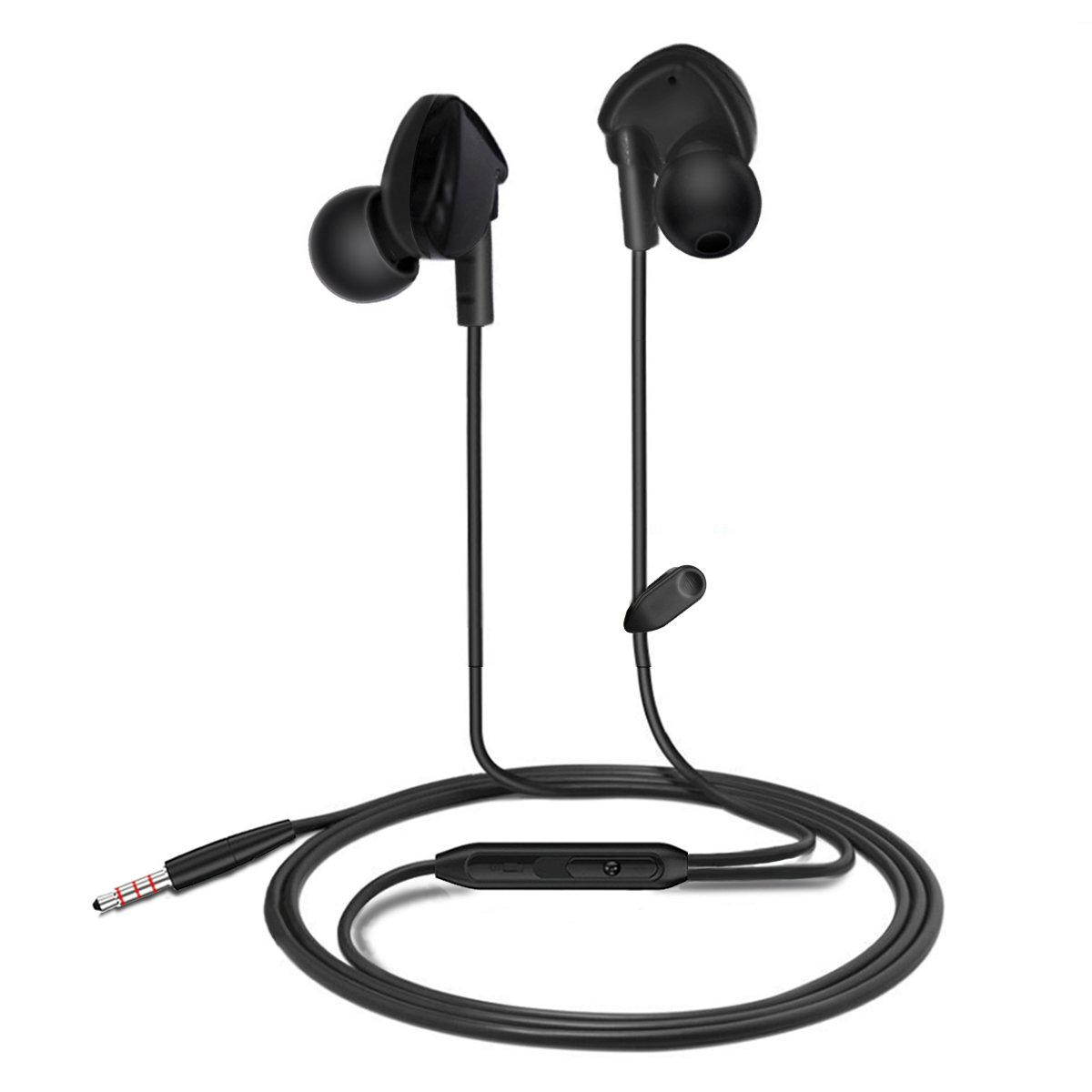 In Ear Earbud, Topoint Sport Workout Wired Stereo In-ear Earphone Headphone with MIC(Inline Control for iPhones/Samsung Smart Phones,Hands-free Calling)-Black