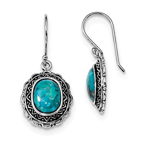 925 Sterling Silver Rhodium Plated Antiqued Turquoise Diangle (Rose Gold Turquoise Earrings)
