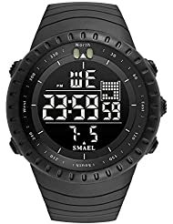 Simple Army Military Police Officer Watch Black Digital Large Numbers with Light Calendar