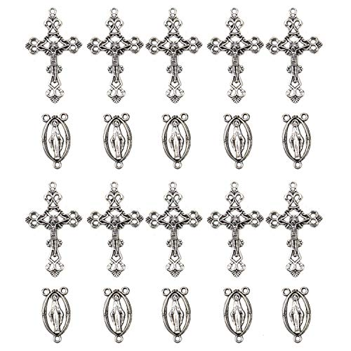 JETEHO 20 Silver Plated Rosary Cross and Center Sets, Alloy Crucifix Cross Pendants and Centerpiece Catholic Virgin Links for Rosary Bead Necklace Making