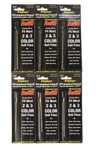 Fisher Space Multi-function Universal Black Fine Refill, 6 Pack