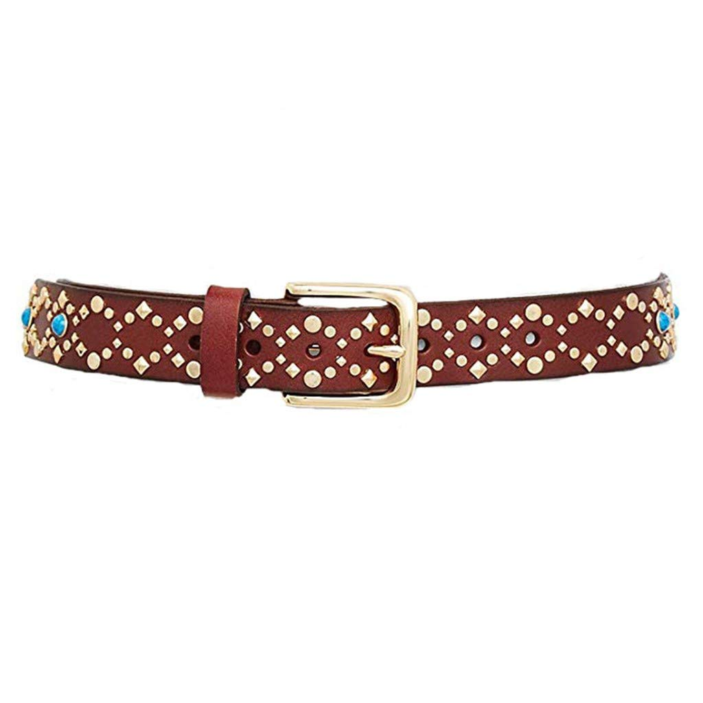 Rebecca Minkoff Women's Tawn 30mm Studded Leather Belt; Brown, Turquoise