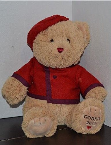 Plush Godiva Teddy Bear with Red Beret and Jacket with Hearts - 12 Inches