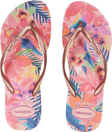 Havaianas Women's Slim Tropical Flip Flops Ballet Rose 37-38 M Bra (Rose Women Flip Flops)