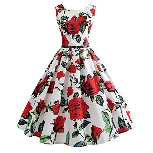 Mikilon Women's Audrey Hepburn Rockabilly Vintage Dress 1950s Retro Floral Cocktail Swing Party Belted Dress Rose Red