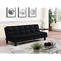 DHP Allegra Pillow-Top Cushion Futon Couch with Upholstered Microfiber - Black