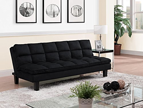 DHP Allegra Pillow-Top Cushion Futon Couch with Upholstered Microfiber - Black (Futon Top)