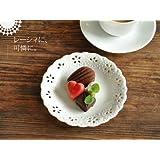 【M'home style】白い食器 お花畑のレリーフ皿15.7cm<透かし> ホワイトレベル2