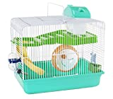 Cagemart Hamster Gerbil Mice 2 Level Play House Cage Wheel Slide (Green)