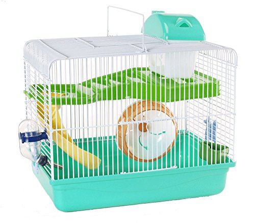 Cagemart Hamster Gerbil Mice 2 Level Play House Cage Wheel Slide (Green) by CageMart