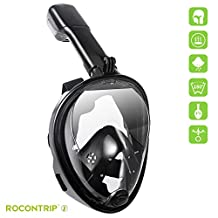 Rocontrip Diving mask 180°View Snorkel Mask, Panoramic Full Face Design, Anti-Fogging Anti-Leak with Adjustable Head Straps with Longer Snorkeling Tube for Man Woman Adult Youth Kid