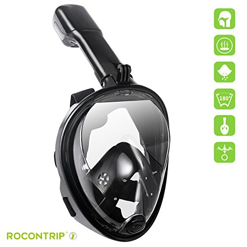 Rocontrip Diving mask 180°View Snorkel Mask, Panoramic Full Face Design, Anti-Fogging Anti-Leak with Adjustable Head Straps with Longer Snorkeling Tube for Man Woman Adult Youth Kid (black, - Men Free Tube