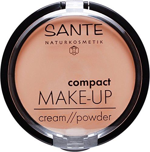 SANTE Naturkosmetik Compact Make up 01 Vanilla, Heller Hautton, Hohe mattierende Deckkraft, Mit Spiegel und Quaste, Vegan, 9 g