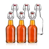 California Home Goods 16 Ounce Grolsch Beer Bottles with EZ Caps, Resealable & Reusable, Clear, Set of 6