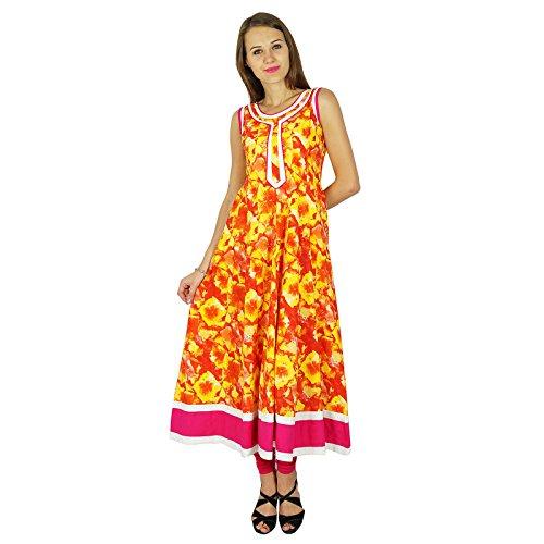 Diseñador Phagun india de Bollywood Kurta Mujeres étnico Kurti vestido de la túnica ocasional Amarillo y naranja