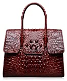 PIJUSHI Top Handle Satchel Handbags Crocodile Women Leather Purse (Big size 27007, red)
