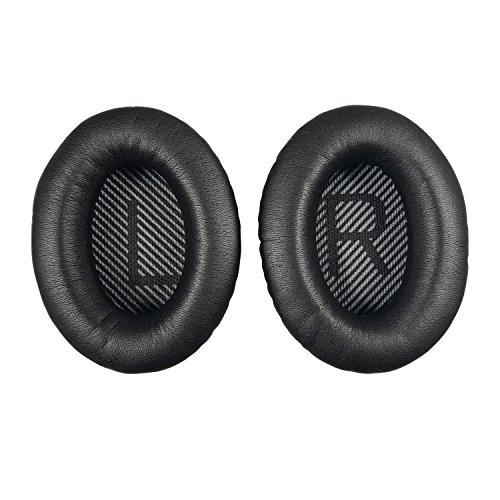 Replacement Ear Pads Earpads for Bose QuietComfort QC 2 15 25 35 Ear Cushion for QC2 QC15 QC25 QC35 SoundTrue SoundLink Around-Ear Headphones(Black V2)