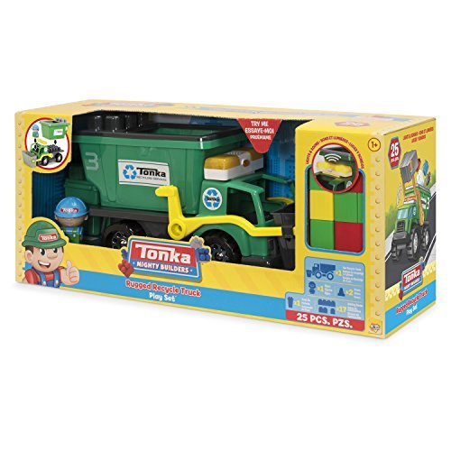 John Deere Dumping Trailer (Tonka Mighty Builders Lights 'n Sounds Rugged Recycle Truck Play Set (25-Piece) Try Me Package | Portable Storage, Easy Cleanup, Safe, Fun, Bright Colors | Children Imagination Creative Toys)