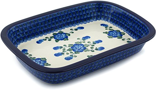 Polish Pottery 12-inch Rectangular Baker with Grip Lip made