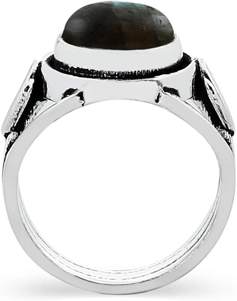 Genuine Labradorite Round /& .925 Silver Overlay Solitaire Rings 2.75ctw