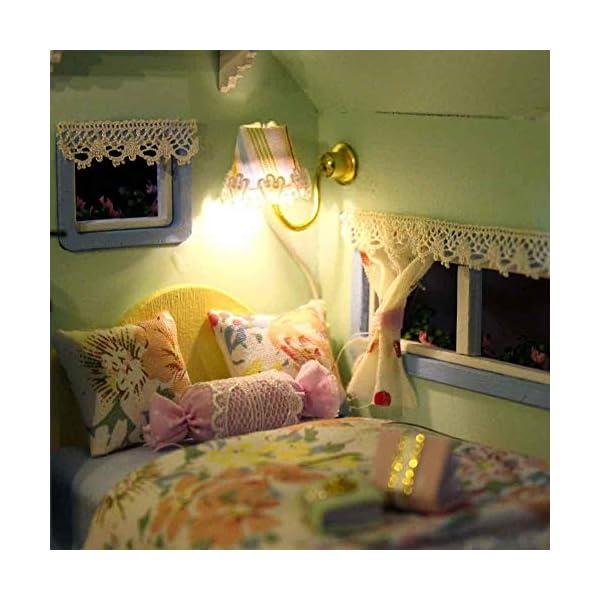 51u05v8nPyL Puppenhaus Süß Haus DIY House mit Licht als Kinder Geschenk, 3D Holz Miniaturhaus Kit Kunsthandwerk Geschenk für…