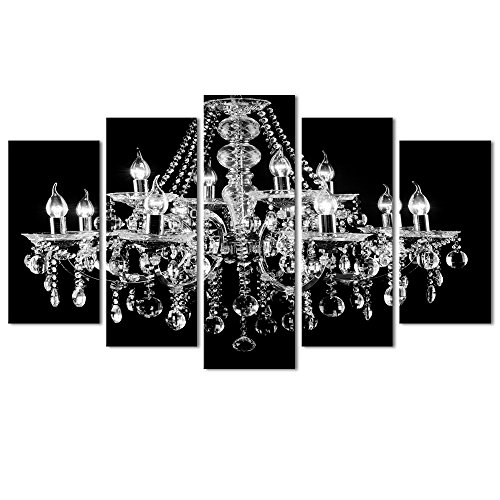 - Visual Art Decor 5 Pieces Canvas Prints Crystal Chandelier on Black Background Picture Modern Living Room Office Wall Art Bedroom Decoration Ready to Hang (Medium)