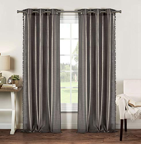 Duck River Textiles - Home Fashion Solid Faux Silk Grommet Top Window Curtains for Living Room & Bedroom - Assorted Colors - Set of 2 Panels (38 X 84 Inch - Silver)