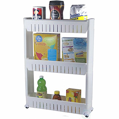 3 Tier Storage Tower - Yaheetech 3 Tier Mobile Shelving Unit Slim Slide-Out Storage Tower Pull out Pantry Shelves Cart for Kitchen Bathroom Bedroom Laundry Room Narrow Places on Wheels White