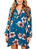 Sidefeel Women Casual V-Neck Floral Print Long Sleeve Beach Chiffon Dress XX-Large Navy Blue
