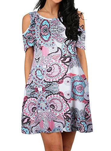 24492747cc27 ZESICA Women s Summer Cold Shoulder Floral Printed Swing T-Shirt Loose Dress  with Pockets